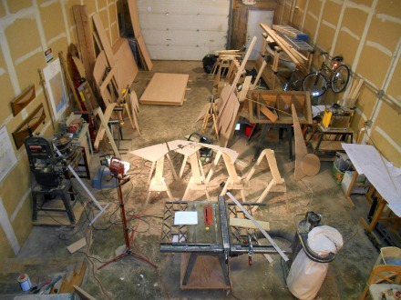 After just 5 bulkheads the shop is a mass of boat pieces, offcuts ad sawdust.