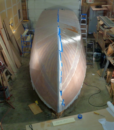 Whole boat glassed.  What's that shiny spot about three panels down -- a long story to come