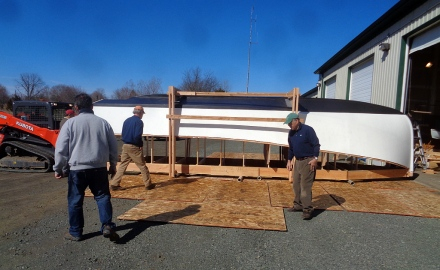 Moving the plywood for the turn.
