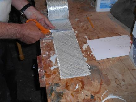 Cutting tape with fiberglass shears