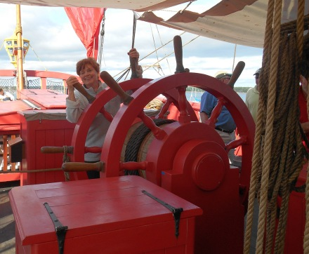 Capitaine Molly at the wheel -- British beware!
