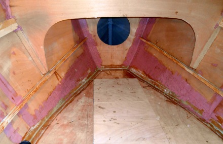 Pink glop (AwlFair Compound) applied to berth area