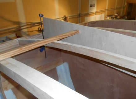 Final beams are easy to pattern -- run a batten along those that are in and simply mark at the bottom all the way across.