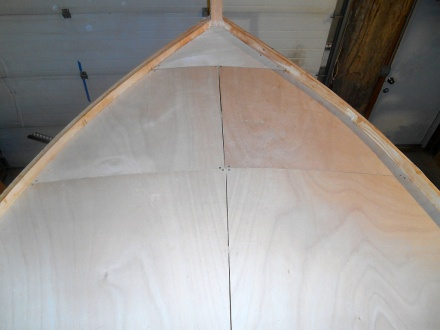 First layer of plyw, those ood on foredeck.  By Tardis standards those seams are hairlines!