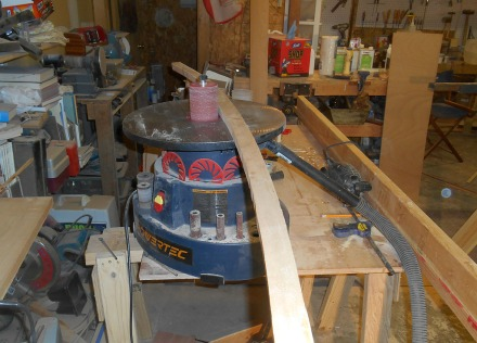 Oscillating spindle sander for smoothing the inside edges. Since everything on a boat is curved, I use this a lot.