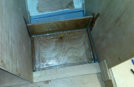 Shower sump glassed in -- ugly but watertight