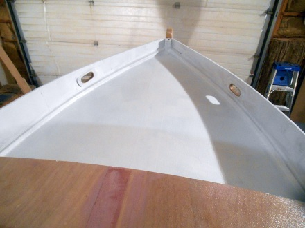 Foredeck primed and looking pretty snappy.