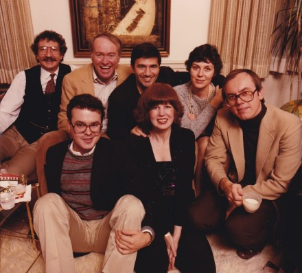 Christmas 1981. Frank is in the middle of the back row with his wife Linda. Moe Hickey, our first publisher is to his right. The beautiful lady in front is Donna Rome, our hostess and one of the first people on the Washington staff.