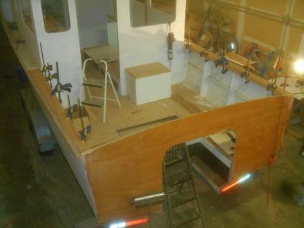 Cockpit side deck glue up