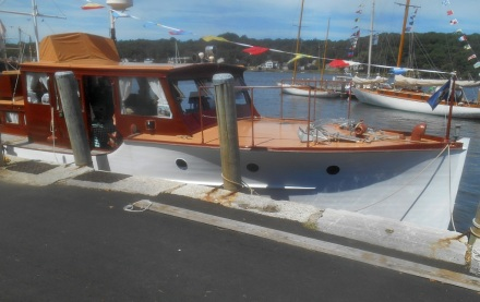 Classic powerboat at Mystic