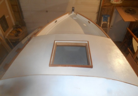 Foredeck painted -- looks a lot like foredeck primed, doesn't it?
