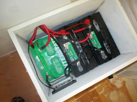 Batteries wired in. They will all have to come out when the deck goes on, so this is just temporary.