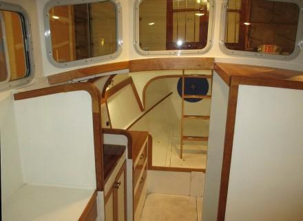 Final varnish on interior trim